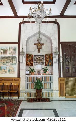 Hatay, Turkey - June 25, 2015 : Interior view of Catholic Church in Antakya - stock photo