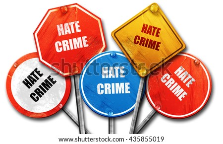 Hate crime background, 3D rendering, rough street sign collectio - stock photo