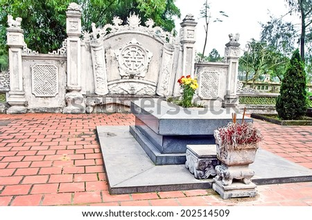 Hatinh, VIETNAM. May 14, 2014 the tomb of the great poet Nguyen Du, he is a world cultural celebrity. Famous for poetry Tale of Kieu - stock photo