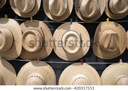 hats for sale in Bernal, Mexico