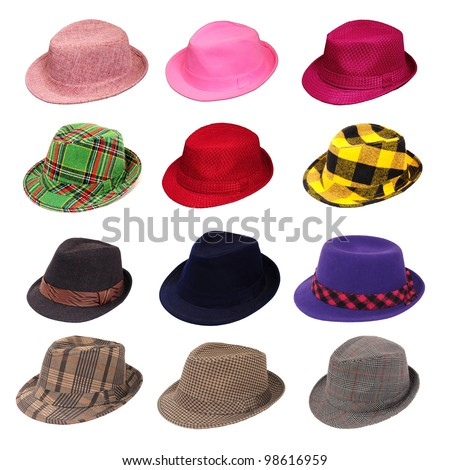 Hats of various type and colors - stock photo