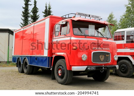 HATTULA, FINLAND - JULY 12, 2014: Classic Scania Vabis LBS76 semi trailer truck year 1967 for transporting soft drink on display at Tawastia Truck Weekend in Hattula, Finland.  - stock photo