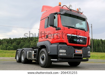 HATTULA, FINLAND - JULY 12, 2014: New MAN TGS 26.540 Heavy truck tractor on display at Tawastia Truck Weekend in Hattula, Finland.  - stock photo