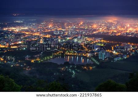 Hatyai City Foggy Scene in Early Morning, Songkhla, Thailand - stock photo