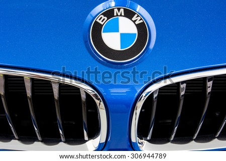 "HATYAI, THAILAND - AUGUST 16, 2015: Logo of the brand ""BMW"" on car - stock photo"