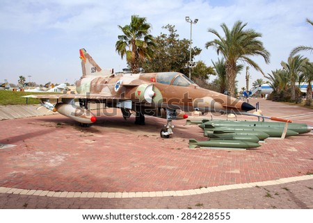 HATZERIM, ISRAEL - JANUARY 27, 2011: Israel Air Force Kfir C7 fighter jet  on display in the Israeli Air Force Museum. Kfir is the first made in Israel fighter aircraft made by IAI - stock photo