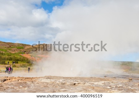 HAUKADALUR, ICELAND - SEPTEMBER 12:  Steam rises from Strokkur, a geysir in the Geothermal Field, Haukadalur in Iceland.  The tourist attraction is part of the popular Golden Circle tourist trail.