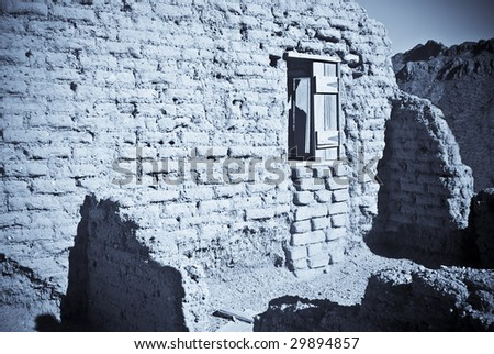 Haunted adobe ruins outside of Tucson, Arizona - stock photo