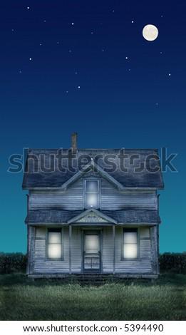 Haunted farmhouse under a full moon and stars. - stock photo