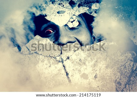 Haunted Wall,Horror Background For Movies Poster Project  - stock photo