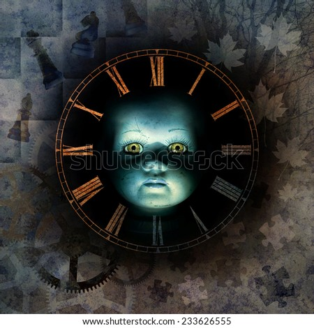 Haunting child-like face emerging from shadow background surrounded by clock-face numerals, chess pieces, autumn leaves, jigsaw fragments, clockwork suggesting childhood, memory, time passing. - stock photo