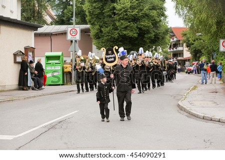 Hausham, Germany - July 17, 2016: Knappenkapelle Kropf mill during parade in Hausham / Germany