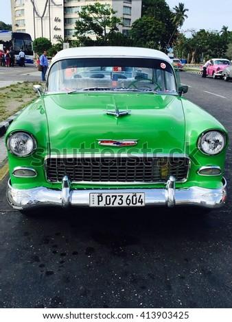 HAVANA - APRIL 27: Close-up of colourful old car in Havana, Cuba on April 27, 2016 - stock photo