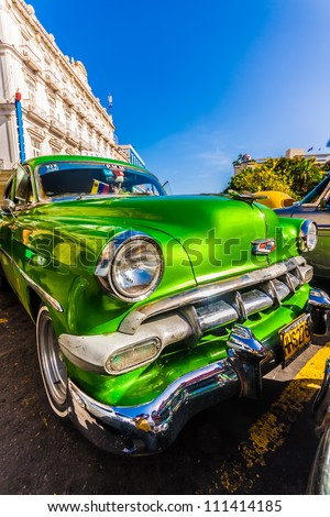HAVANA-AUGUST 14:Classic Chevrolet parked near Central Park August 14,2012 in Havana.These old cars,the only ones that could be bought until last year,are a famous sight on the streets of the city - stock photo