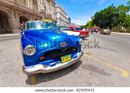 HAVANA-AUGUST 12:Pontiac and other cars August 12,2011 in Havana.Under the current law that the government plans to change before 2012,Cubans can only trade cars that were on the road before 1959 - stock photo