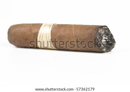 Havana brown cigar burned on white background - stock photo