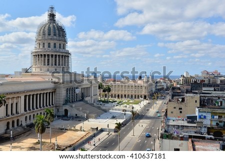 Havana, CUBA - APRIL 8, 2016: Havana from above. Street of Havana with old cars. Cuba - Havana capitol. Cuba, Havana historic. Editorial photo. - stock photo