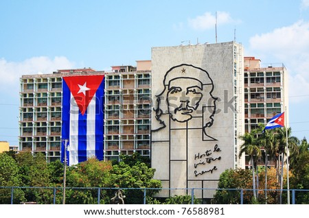 "HAVANA, CUBA - APRIL 4: Steel outline of revolutionary ""Che"" Guevara's face aside the Ministry of the Interior building in Revolution Square, Havana, Cuba, on April 4, 2011. Symbol of rebellion. - stock photo"
