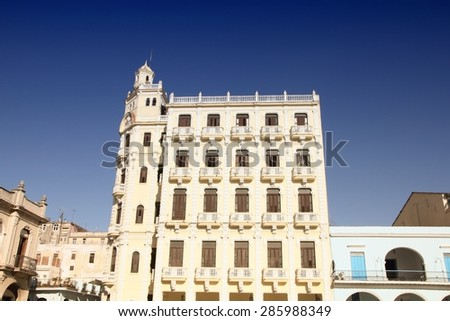 Havana, Cuba - architecture at famous Plaza Vieja square. Filtered style. - stock photo