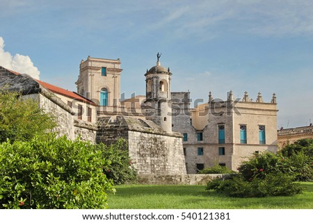 "Havana, Cuba: Castillo de la Real Fuerza (""Royal Force Fortress""), with the iconic statue of La Giraldilla (Havana's symbol) on top of its watchtower"