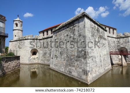 Havana, Cuba - city architecture. Famous castle with the moat. - stock photo