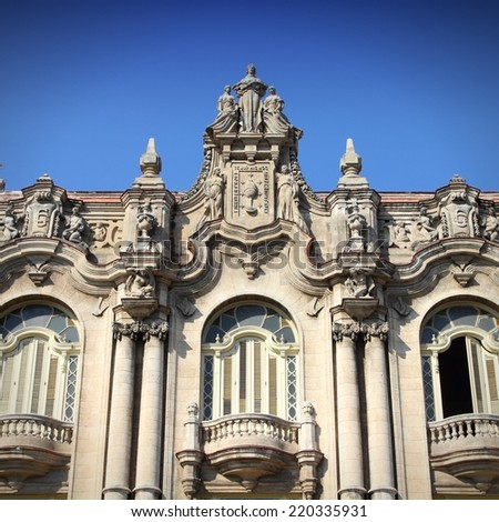 Havana, Cuba - city architecture. Famous Great Theatre building. Havana's old town is a UNESCO World Heritage Site. Square composition. - stock photo