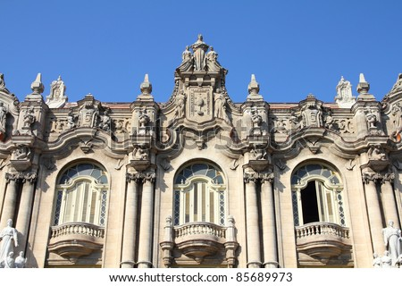Havana, Cuba - city architecture. Famous Great Theatre building. Havana's old town is a UNESCO World Heritage Site.