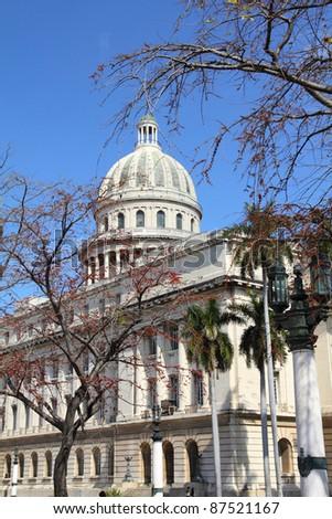 Havana, Cuba - city architecture. Famous National Capitol (Capitolio Nacional) building. - stock photo