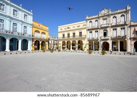 Havana, Cuba - city architecture. Renovated architecture at famous Plaza Vieja square. - stock photo