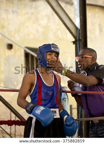 HAVANA - CUBA / 03/15/2015 : Cuba U 15 National Boxing Team Elimination in Havana, little boxers are fighting for national team
