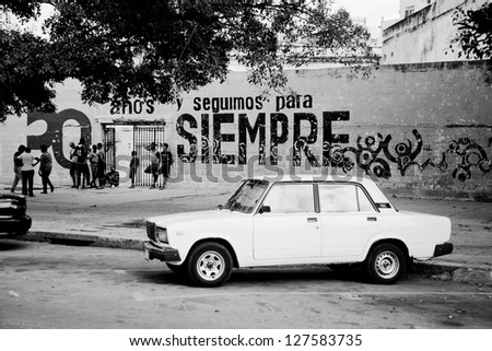 HAVANA, CUBA - DEC 30: Old Lada 2107 Russian car on December 30,2012 in Havana. With an estimated 60,000 vintage cars still in Cuba, these old classics are a tribute to the nostalgia of the old days. - stock photo