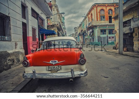 HAVANA, CUBA - 4 DEC, 2015. Red vintage classic American car, commonly used as private taxi parked in Havana street.