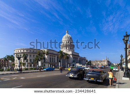 HAVANA,CUBA - DECEMBER 18, 2012 : Caribbean Cuba Havana main street with Capitol View - stock photo