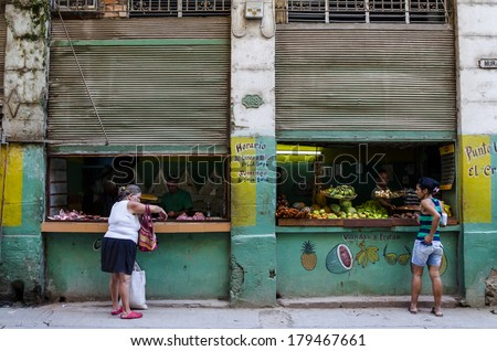 HAVANA, CUBA - DECEMBER 1, 2013: Exterior view of the typical Cuban vegetable and fruit shop in Cuba - stock photo