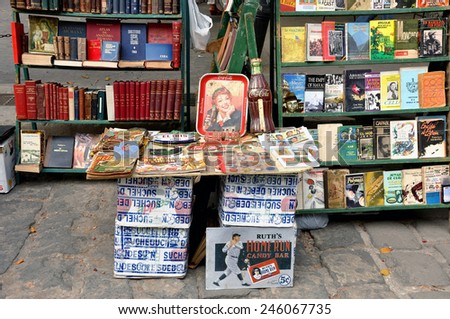 HAVANA, CUBA - FEB 2, 2010: Books, comics and rarities on sale in a outdoor market place in Old Havana.  Cuba depends very heavily on the tourism industry and Old Havana is a major tourist attraction. - stock photo