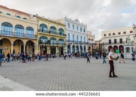 HAVANA, CUBA - FEB 20, 2016: Old colonial buildings on Plaza Vieja square in Havana Vieja - stock photo