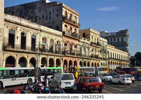 HAVANA, CUBA - FEB 2, 2010:  The distinctive buildings of Paseo de Marti, across from the Capitol building, in the Old Havana section of Havana, Cuba in late afternoon sunlight. - stock photo
