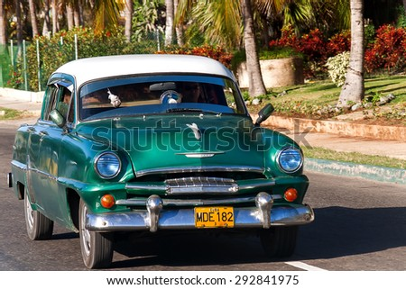 HAVANA, CUBA - February 5, 2008. Classic Plymouth (Chrysler). Most of the Cubans drive cars that were on the road before 1959. - stock photo