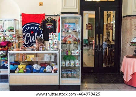 HAVANA,CUBA-FEBRUARY 18,2016: Cuban souvenir stand in Hotel Presidente. Tourism is a leading economic industry. After the thaw with the USA, the number of visitors have increased exponentially.