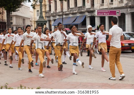 HAVANA, CUBA, FEBRUARY 15, 2013 : Demonstration . Students march on the square - stock photo