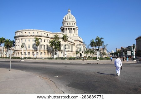 HAVANA, CUBA - FEBRUARY 27, 2011: People visit National Capitol in Havana, Cuba. Havana is the largest city in Cuba and its Old Town is a UNESCO World Heritage Site. - stock photo