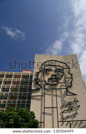 """HAVANA, CUBA - JAN 23: Steel outline of revolutionary """"Che"""" Guevara's face aside the Ministry of the Interior building in Revolution Square, Havana, Cuba, on January 23, 2008. - stock photo"""