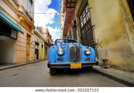 HAVANA, CUBA - JANUARY 20, 2010: Detail of vintage classic car commonly used as private taxi parked in Havana street. - stock photo