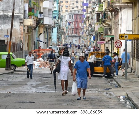 Havana, CUBA - JANUARY 15, 2016: Havana old classic American car on street of Havana,CUBA. Cuba - Havana. Cuba cars in Havana. Cuba, Havana historic. Editorial photo. - stock photo