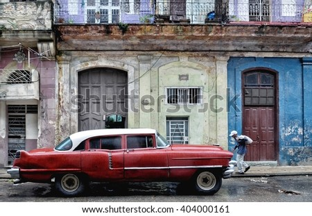 Havana, CUBA - JANUARY 14, 2016: Havana old classic American car on street of Havana,CUBA. Cuba - Havana. Cuba cars in Havana. Cuba, Havana historic. Editorial photo. - stock photo