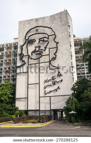 Havana, Cuba - 16 January, 2015 - Ministry of the Interior building, featuring an iron mural of Che Guevara's face, at the Revolution Square in Havana.