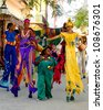 HAVANA, CUBA - JULY 20 : A unidentified group of participants in the annual carnival party on July 20 ,2011 in Havana, Cuba.Carnival in Cuba lasts 10 days in mid july - stock photo