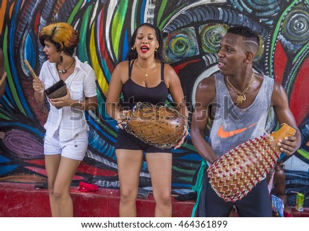 HAVANA, CUBA - JULY 18 : Rumba musicians in Havana Cuba on July 18 2016. Rumba is a secular genre of Cuban music involving dance, percussion, and song. It originated in the northern regions of Cuba