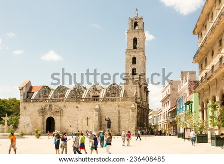 HAVANA,CUBA-JULY 12,2014: The basilica and the monastery of San Francisco de Asis or Saint Francis of Assisi  were built at the end of sixteenth century  as the home of the Franciscan community - stock photo