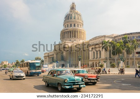 HAVANA,CUBA-JULY 3,2014: The Havana Capitol is being remodelled. This building was the seat of government in Cuba until after the Cuban Revolution in 1959, now home to the Cuban Academy of Sciences. - stock photo